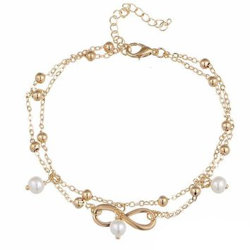Pearl Beads Infinity Double Anklet In Silver or Gold