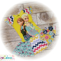 Altered, Upcycled Original New Disney frozen tee dress, size 5/6 with Anna and Elsa - Yellow