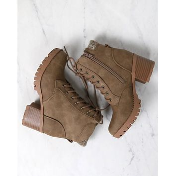 Lace-Up Chunky Heel Combat Boots in Taupe