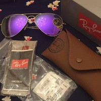 RAY BAN Sunglasses Aviator Authentic RB 3025 Metal Gold/ Purple Mirrored