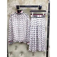 Fendi Autumn Fashion New More Letter Print Long Sleeve Top And Skirt Two Piece Suit Women