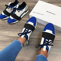 BALENCIAGA Race Runners Trending Women Men Casual Sport Sneakers Shoes Blue/White I/A