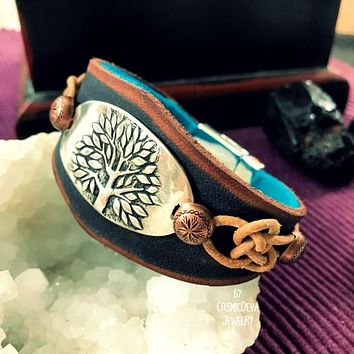 Celtic Tree of Life Leather Cuff, Sterling Silver Tree of Life Bracelet - Forest Jewelry