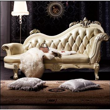 Retro Style Royal Look Leather Chaise Lounge