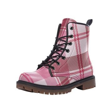 Leather Boots, Pink and White Plaid Style Martin Boots