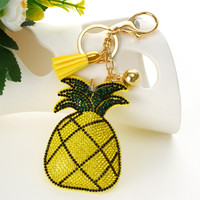 ZOSHI Fashion Hot Yellow pineapple pendant Key Chain Bag AccessoriesIce Leather Tassel Car Keychain for women Handbag Key Ring