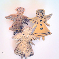 3 Angels Brooch Pin Christmas Gold Silver Copper Tone 1990s 3D Vintage Pin Brooch Jewelry Jewellery Gift Guide