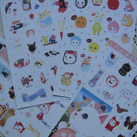 Cat STICKER PACK 8 sheets with lovely folder/Korean Sticker Pack/Sticker Pack/Cat stickers PLANNER/Sticker set