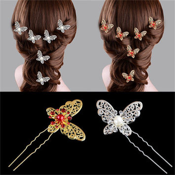 Fashion 1Pcs Butterfly Shaped Hair Pin Bride Rhinestone Wedding Dress Costume Headdress Hairpins  White Red Colors