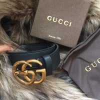 Authentic Gucci Black Leather Belt w/ Gold GG Snake Buckle 100/40 34-36