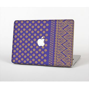 The Tall Purple & Orange Floral Vector Pattern Skin Set for the Apple MacBook Air 13""