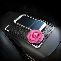 Leather Flower Car Mobile Phone Anti Non Slip Dashboard Mount Mat Holder Pad Stand Sticker