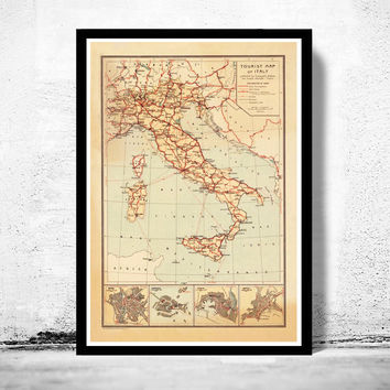 Old Map of Italy Touristic Map italia