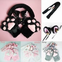 Anime Cosplay Costume Cat Ears Plush Paw Claw Gloves Tail Bow-tie 1 Set hot sale = 1929763076