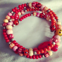 Multi red and pink wrap bracelet