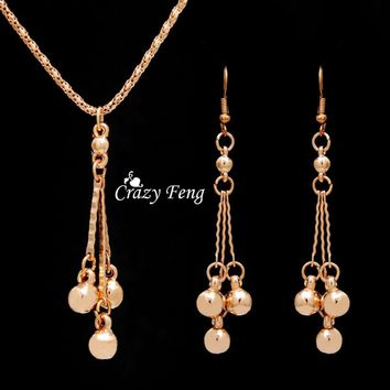 Trendy Jewelry Sets Necklace Earrings For Women With Dangle Pendants18K Gold Plated Bridal Party Costume Jewelry Bijouterie