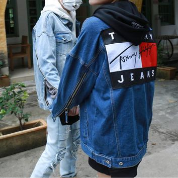 """""""Tommy Jeans"""" Personality Fashion Letter Pattern Patch Zip Long Sleeve Loose Denim Cardigan Coat"""