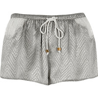Grey snake jaquard shorts