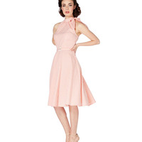 Voodoo Vixen Peach Gingham High Neck Dress
