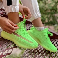 Adidas Yeezy Boost 350 V2 Popular Women Men Breathable Sport Running Shoes Sneakers Green