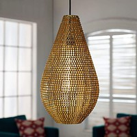"""20"""" Hand-Crafted Drop Style Sparkle Pendant - Gold"""