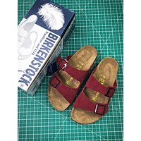Birkenstock Arizona Soft Footbed Suede Leather Red Sandals