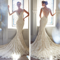 2015 Country Style Sexy V Neck With Cap Sleeves Lace Beads Mermaid Charming Lace Wedding Dresses Bridal Gowns Y21432 19242315