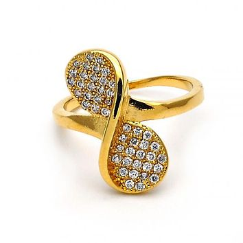 Gold Layered Multi Stone Ring, Bow and Twist Design, with Micro Pave, Golden Tone