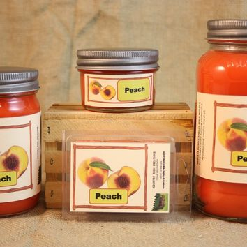 Peach Scented Candle and Wax Melts, Fruit Scent Candle, Highly Scented Candles and Wax Tarts, Mason Jar Candle, Housewarming Gift