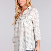 Ivory High Low Plaid Button Down