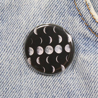 Phases Of The Moon 1.25 Inch Pin Back Button Badge