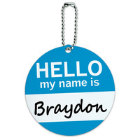 Braydon Hello My Name Is Round ID Card Luggage Tag