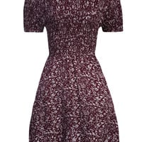 Burgundy Off-Shoulder Floral Dress