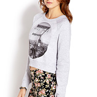 FOREVER 21 French Moments Cropped Sweatshirt Heather Grey/Black
