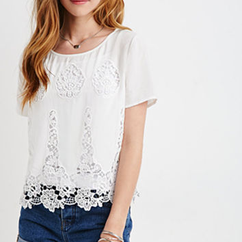 Boxy Embroidered-Crochet Top