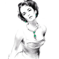 Pecil drawing - Elizabeth Taylor Wearing Emerald Jewels
