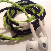 MyBuds Wrapped Tangle-Free Earbuds for iPhone | Black & Lime Green | with Microphone and Volume Control