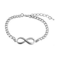 3 Pieces of Silvertone Infinity Symbol with Cuban Link Chain Bracelet