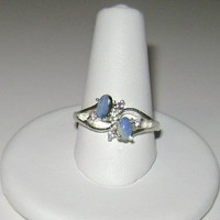 TheCraftStar - Market Place - Blue Boulder Opal & Amethyst Ring Sterling Silver .925 Size 7
