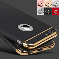 New 3 in 1 For iPhone 7 & 7 Plus Hard Gold Funda Phone Case for iPhone 6 6S 6 Plus SE 5s 5 Hard Cover case thin Back Cover Capa