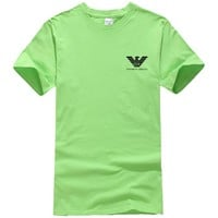 Emporio Armani New fashion bust side letter print couple top t-shirt Green