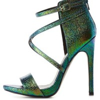 Teal Combo Strappy Iridescent Druzy High Heels by Charlotte Russe