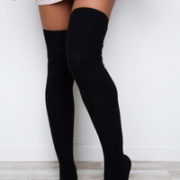 Aimee Thigh High Socks - Black