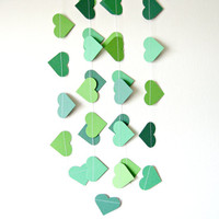 Green Heart Garland - paper heart garland, home decor, kids room decor, nursery decoration, party decor