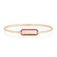 Jemma Wynne Jewellery Personalized Prive Rectangle Bangle with Rubies in 18K Rose Gold