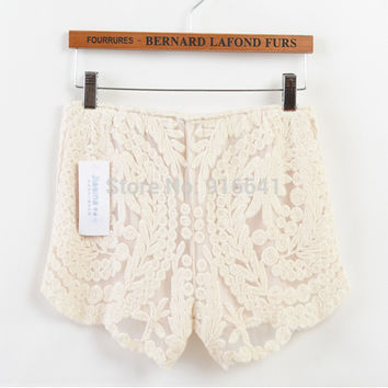 Boho crochet mini shorts