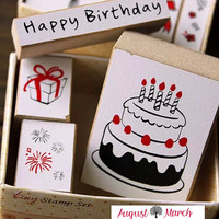 Happy Birthday Rubber Stamps