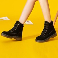 Patchwork Retro Round Toe Lace Up Short Martin Boots