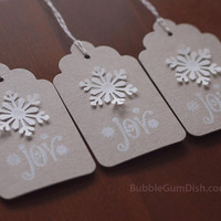 Paper Snowflake Holiday Hang Tags Gift Tags Set of 6 Joy Hand Stamped 3x5 Large Chipboard
