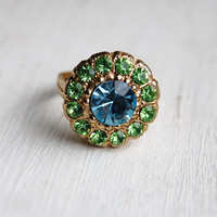 Vintage Rhinestone Flower Ring